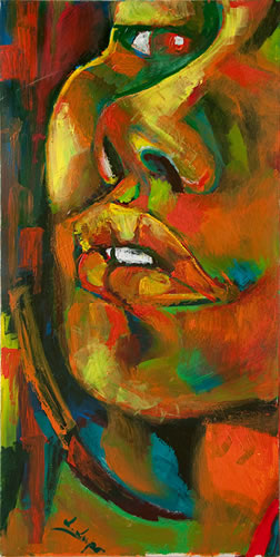 Giusy olio e acrilico su tela / oil and acrylic painting on canvas cm 50 x 120